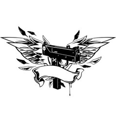 machine gun with wings and ribbon vector image vector image