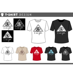 t shirt design with eye vector image vector image