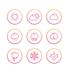 weather line icons set forecast elements sunny vector image vector image
