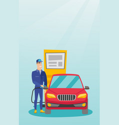 worker filling up fuel into car at the gas station vector image