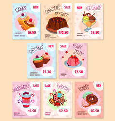 Bakery desserts price tags templates set vector