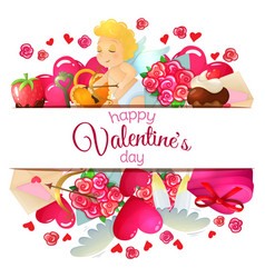 template with valentines day icons vector image vector image