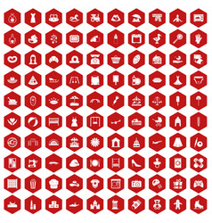 100 motherhood icons hexagon red vector