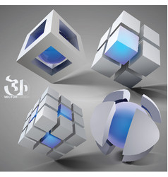 3d geometric set vector image