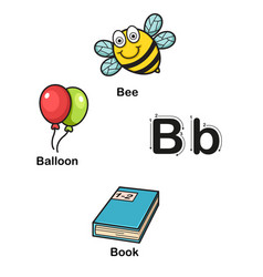 Alphabet letter b-bee balloon book vector