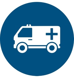 Ambulance car on blue round icon vector