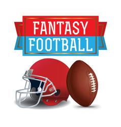 american fantasy football ball helmet and banner vector image