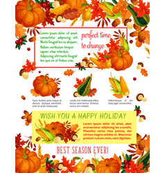 Autumn harvest celebration thanksgiving poster vector