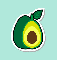 Avocado sticker on blue background colorful fruit vector