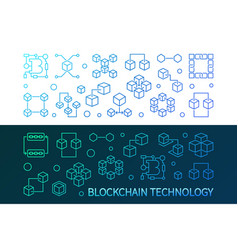 blockchain technology colorful horizontal vector image