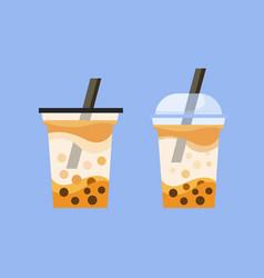 Boba milk tea drink cup icon flat vector