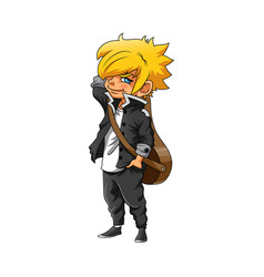 Boy with yellow hair and using black vector