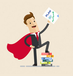 businessman super hero and growth chart business vector image