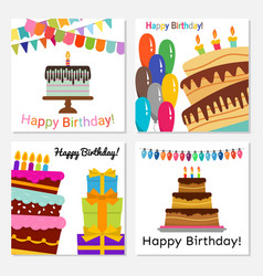 cards with sweet cake for birthday celebration vector image