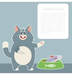 cat and fish banner2 vector image