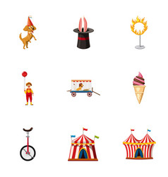 Circus festival icons set cartoon style vector