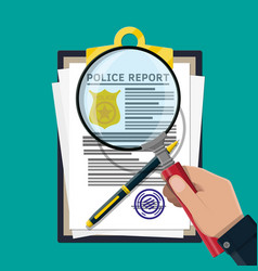 clipboard with police report and pen vector image