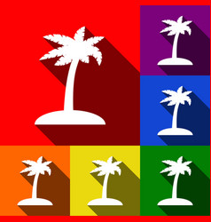 coconut palm tree sign set of icons with vector image