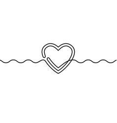 continuous line drawing heart and wavy line vector image