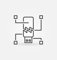 Corrupted usb flash drive icon in linear vector