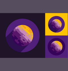 Cosmic planet logo in round form on violet black vector