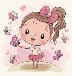 cute cartoon girl with butterflies vector image