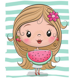 Cute cartoon girl with watermelon vector