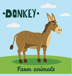 cute donkey farm animal character farm animals vector image