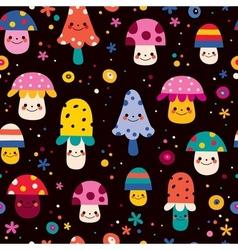 Cute mushrooms seamless pattern 2 vector