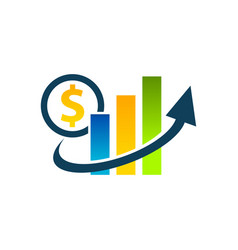 dollar graph chart icon vector image