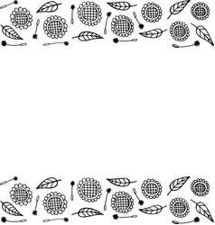 doodle frame with sunflowers coloring page for vector image