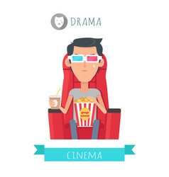 Drama movie flat style concept vector