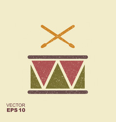 Drum with sticks icon with scuffed effect in a vector