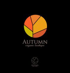 fall logo autumn emblem organic shop vector image