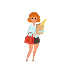 fat red-haired lady with handbag and paper vector image