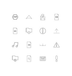 Files and folders sign linear thin icons set vector