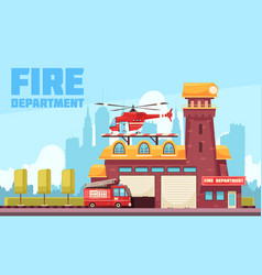 fire station flat background vector image