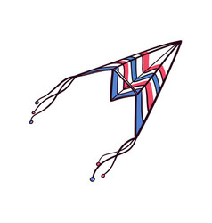 Flying hand drawn paper plane doodle kite vector