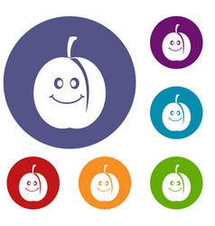 Fresh smiling apricot icons set vector
