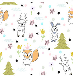 funny seamless pattern with funny animals vector image