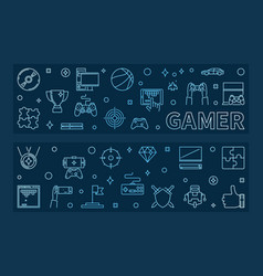 gamer outline blue horizontal banners vector image