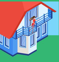 girl waving hand on balcony flat vector image