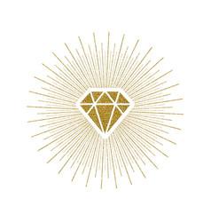 Glitter gold shining diamond with sunburst vector