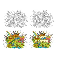 Happy Easter doodle vector image
