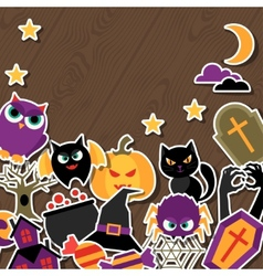 Happy halloween greeting card with flat sticker vector image
