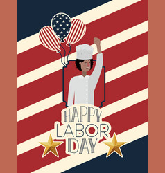 Happy labor day card with chef and usa flag vector