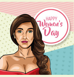 Happy womens day pop art vector