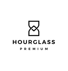 hourglass monoline outline logo icon vector image