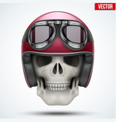 Human skull with retro chopper helmet vector
