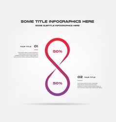 Infinity chart of percentage infographics element vector